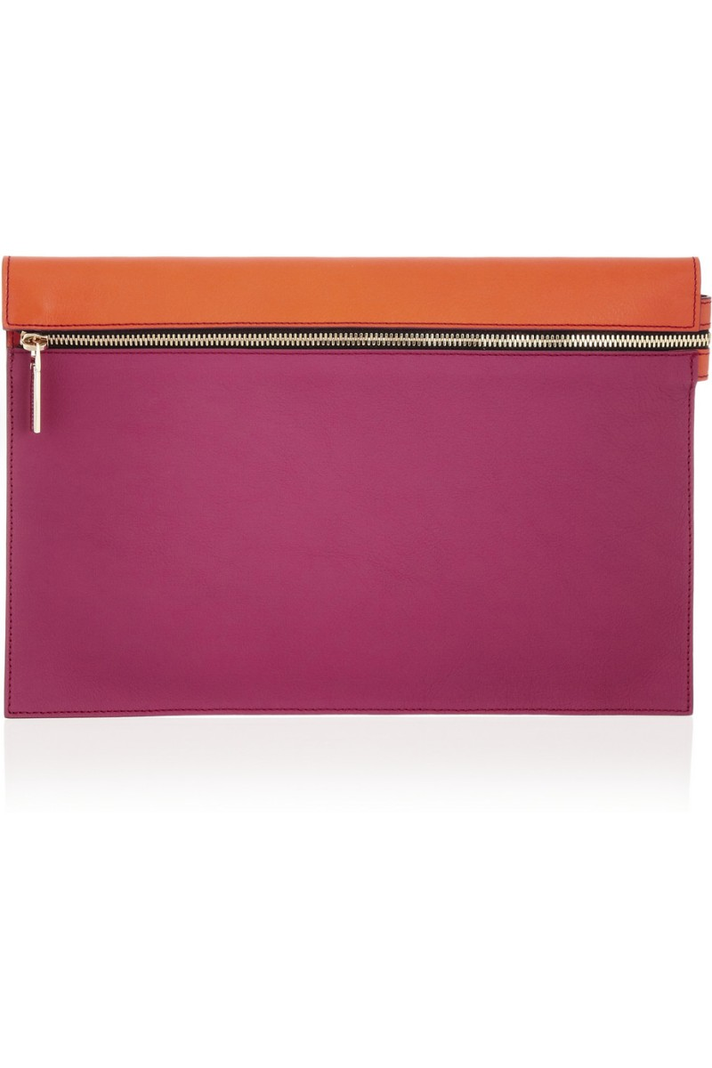 VICTORIA BECKHAM Two-tone leather clutch €475
