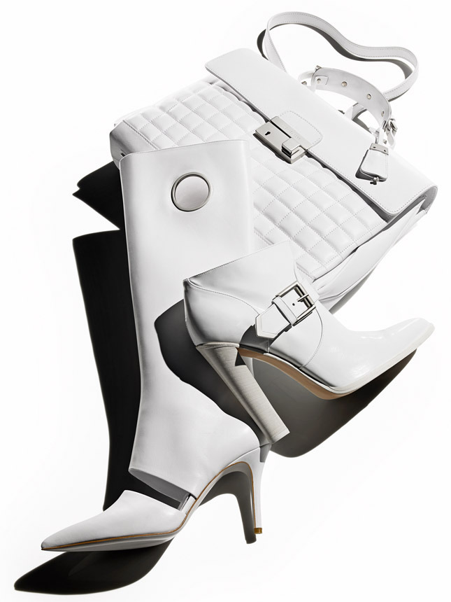 Leather bag , Michael Kors; leather boots , Salvatore Ferragamo; leather ankle boots, Altuzarra