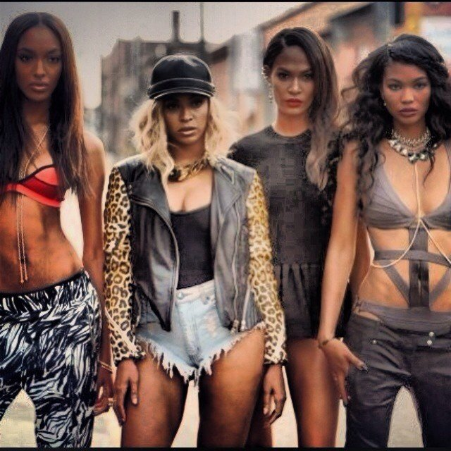 Beyoncé with Joan Smalls, Jourdan Dunn and Chanel Iman in her new video /INSTAGRAM