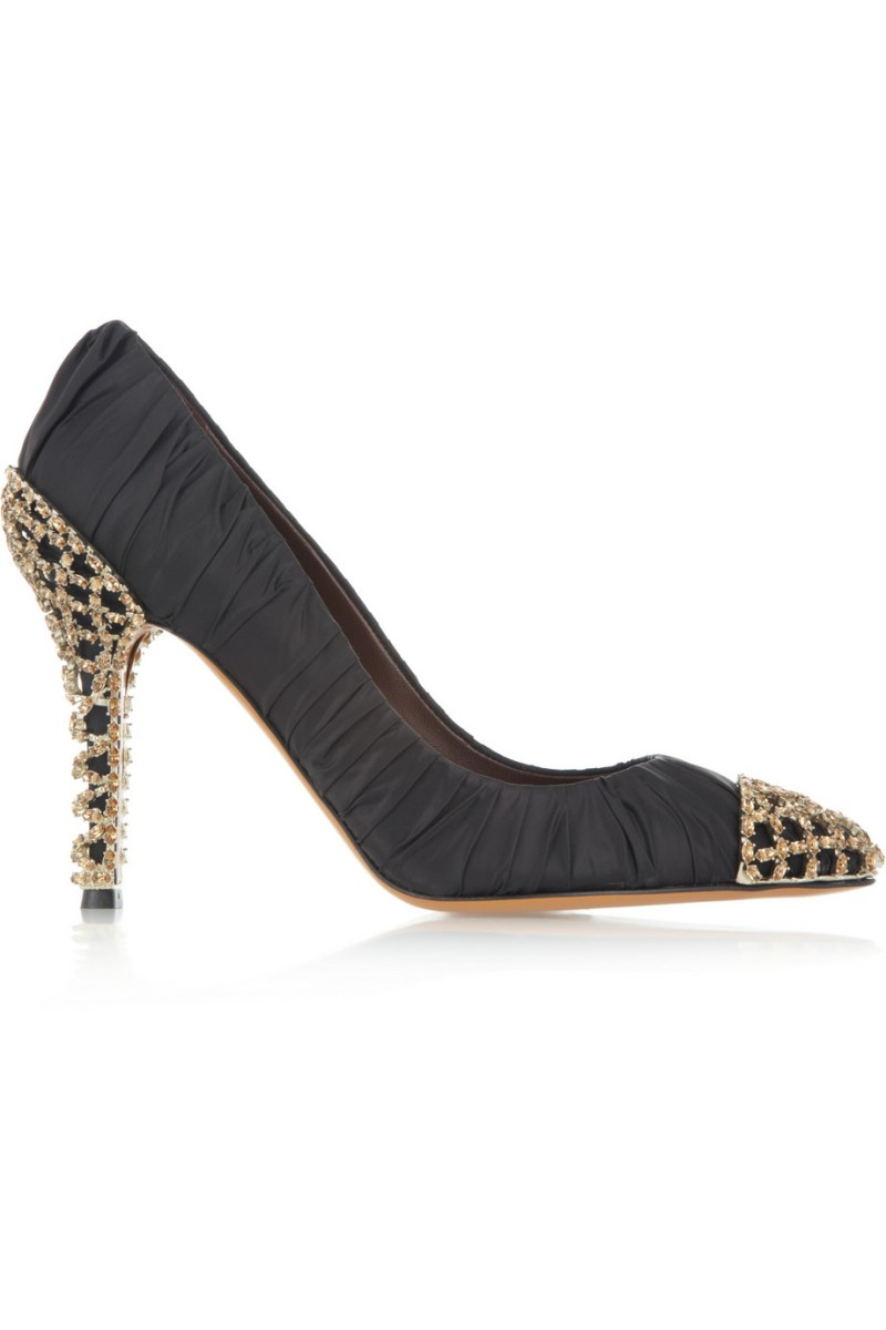 BRUNO MAGLI Girifushi topaz-embellished taffeta and leather pumps €1,925