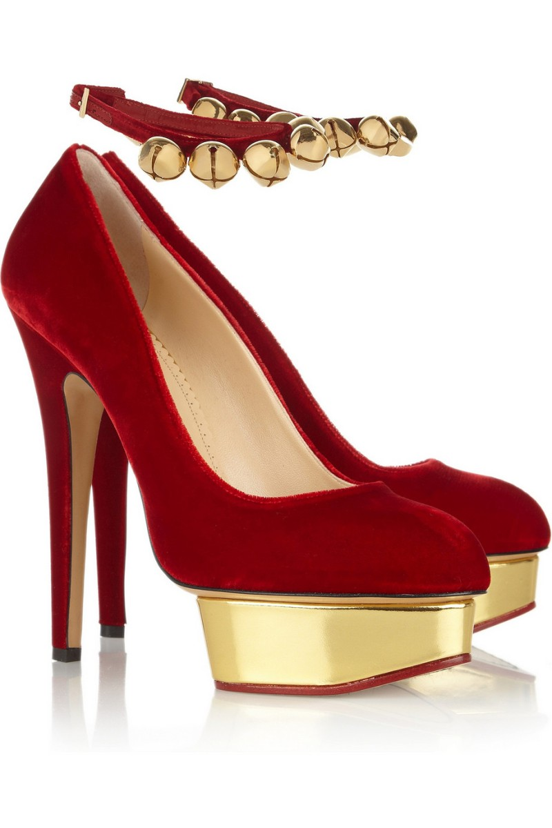 CHARLOTTE OLYMPIA Jingle Bell Dolly velvet platform pumps €715