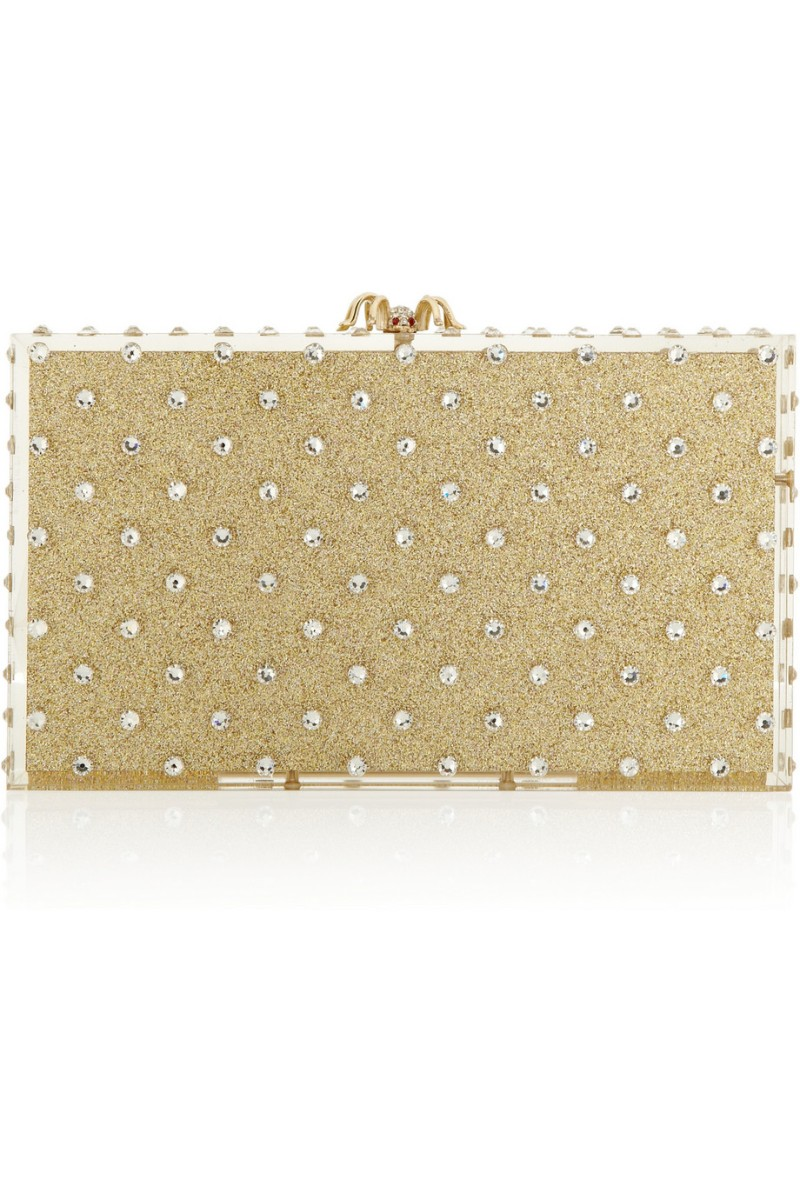 CHARLOTTE OLYMPIA Let It Shine Pandora embellished glittered Perspex box clutch €1,095