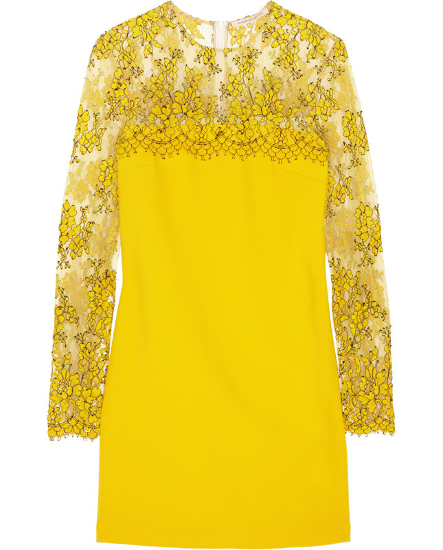 CHRISTOPHER KANE Wool-crepe and lace mini dress €975