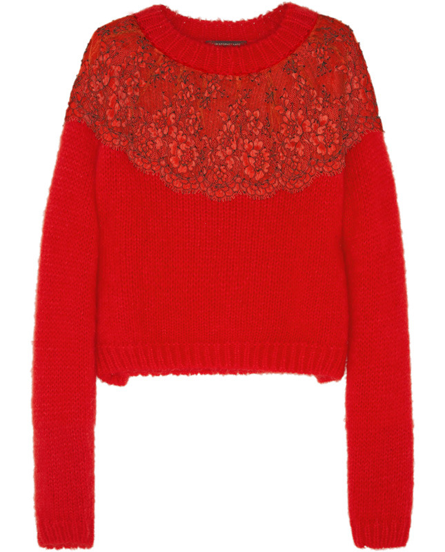 CHRISTOPHER KANE Lace-appliquéd angora-blend sweater €610