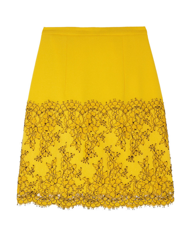 CHRISTOPHER KANE Lace-trimmed wool-crepe A-line skirt €610