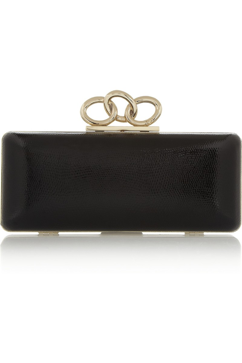 DIANE VON FURSTENBERG Sutra lizard-effect glossed-leather box clutch €295