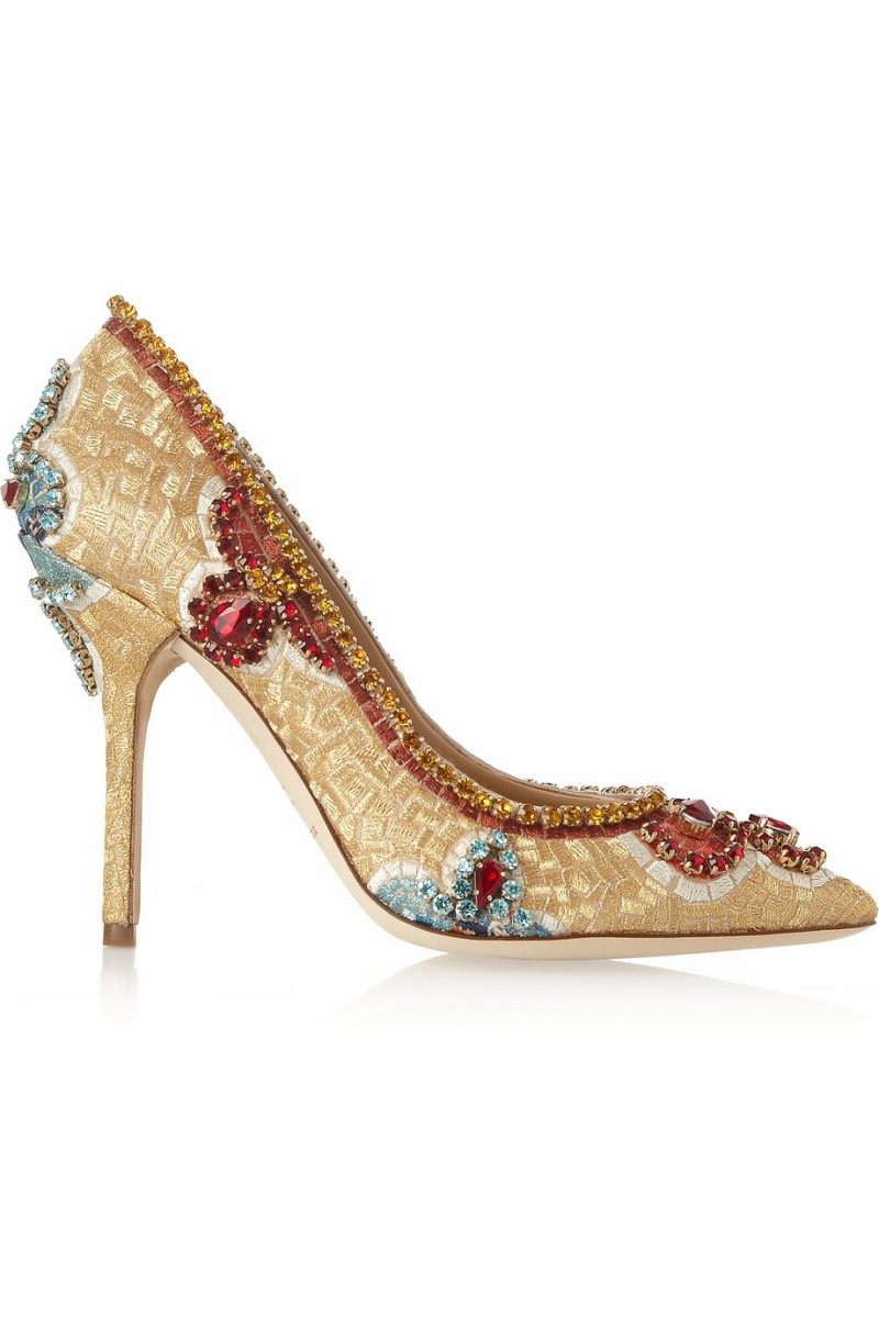 DOLCE & GABBANA Embellished ayers-trimmed embroidered pumps €1,450