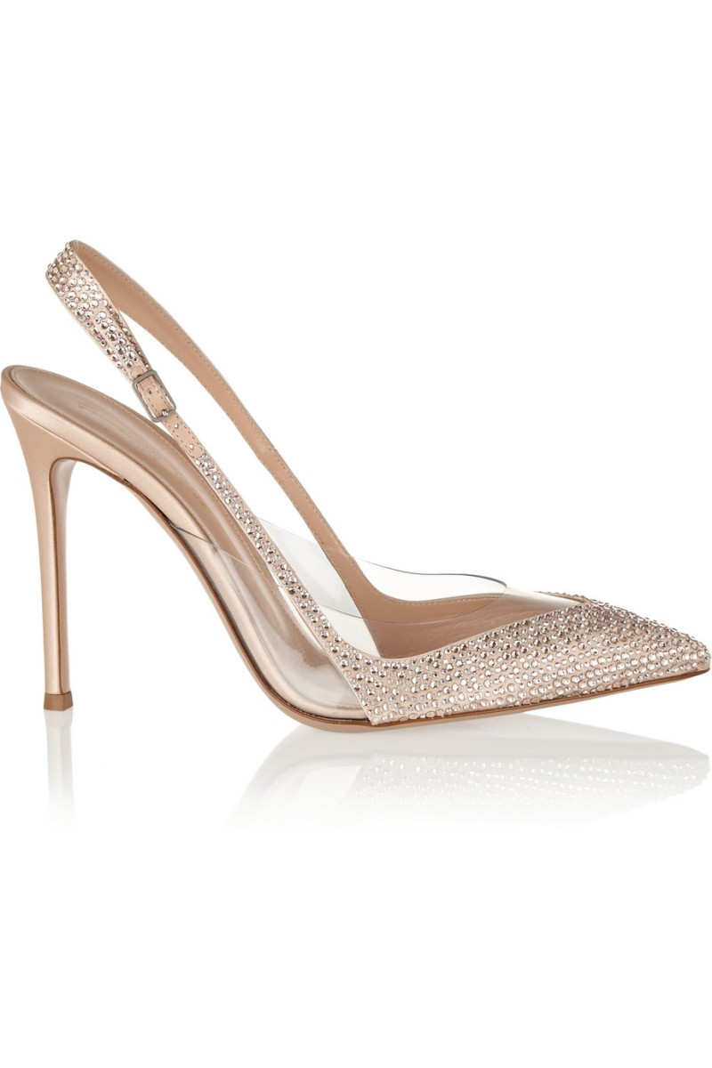 GIANVITO ROSSI Embellished satin and PVC slingbacks €1,100