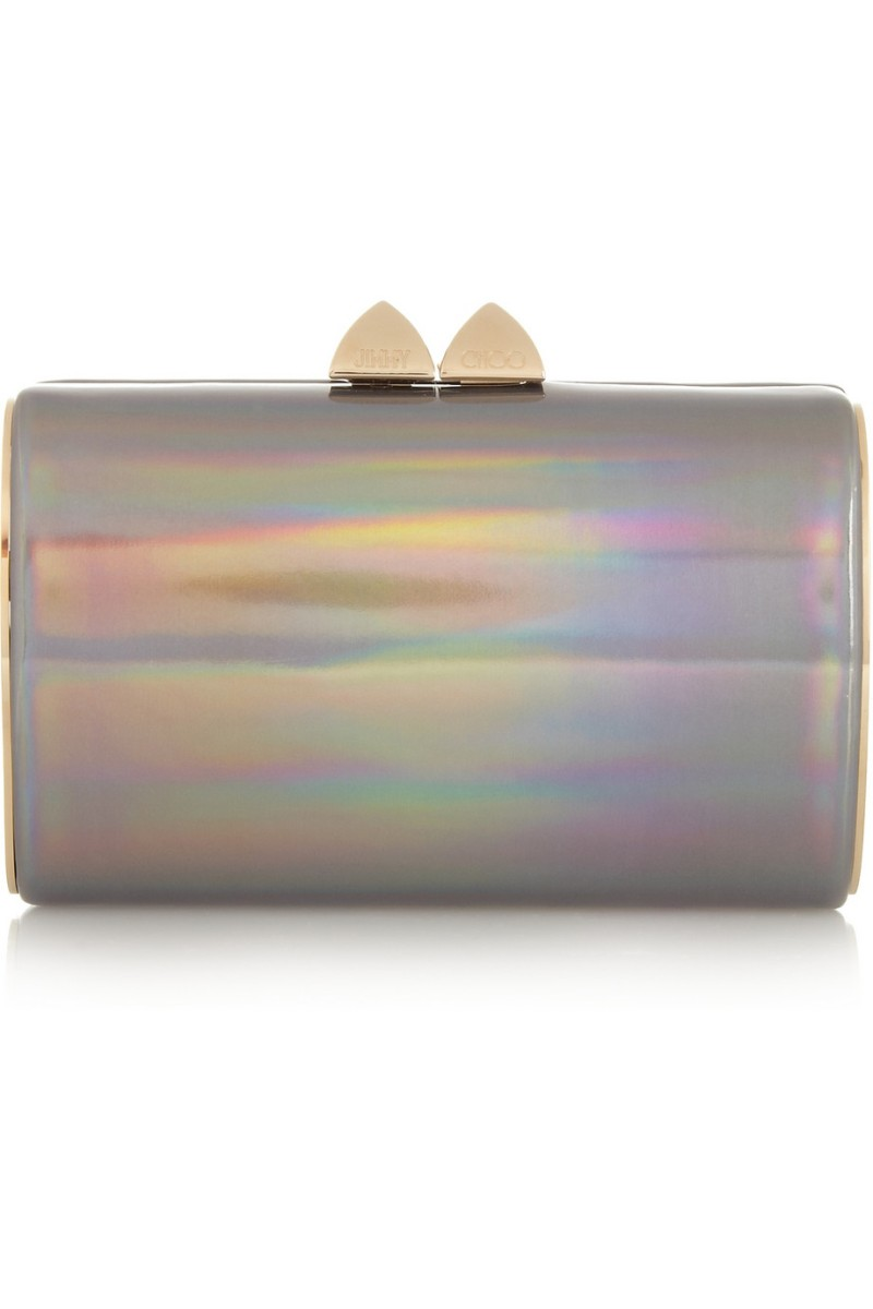 JIMMY CHOO Charm holographic patent-leather clutch €750