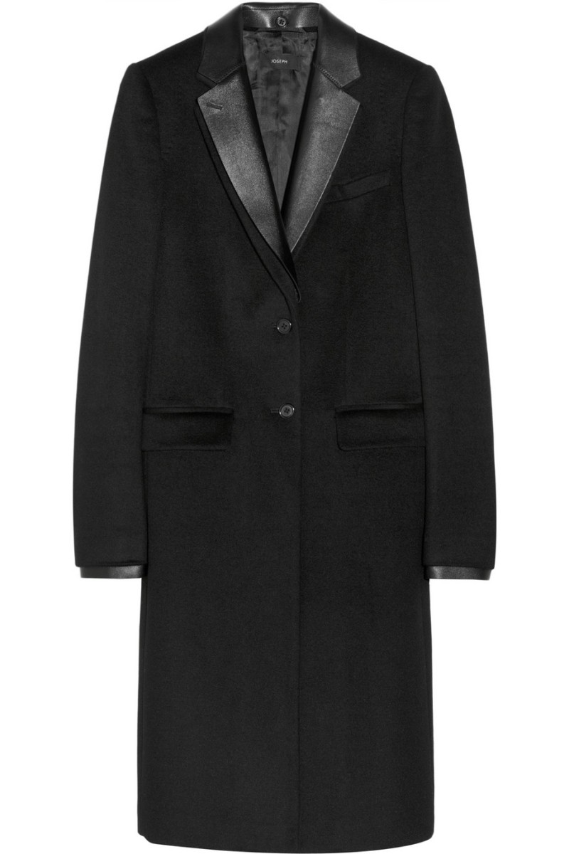 JOSEPH Dakota leather-trimmed wool and cashmere-blend coat €825