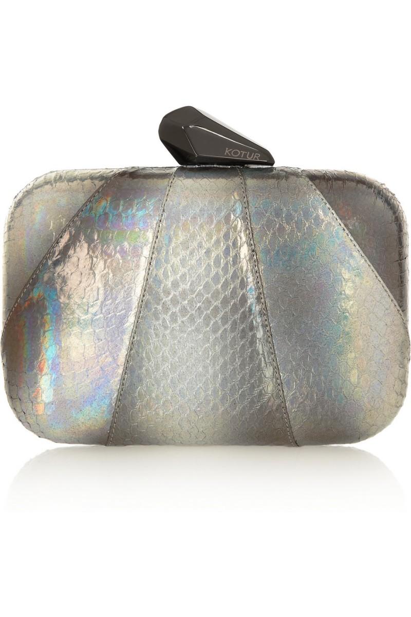 KOTUR Morley holographic elaphe clutch €445