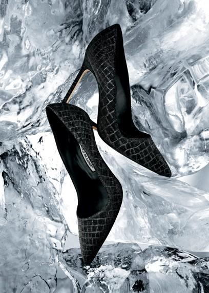 "Manolo Blahnik ""BB"" point-toe pumps in silver/black crocodile-print fabric. $655."