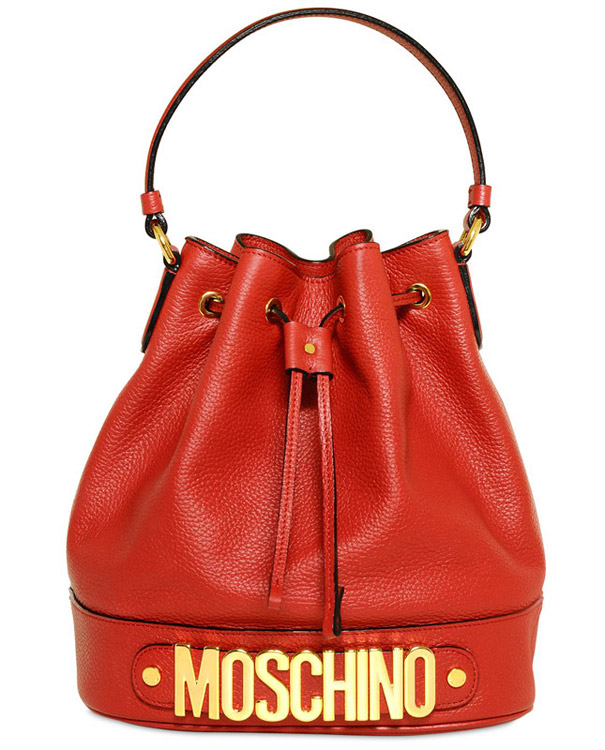 MOSCHINO ROSSELLA GRAINED LEATHER TOP HANDLE