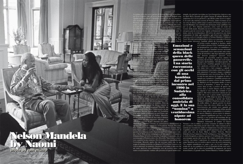 Nelson Mandela and Naomi Campbell Photo by Tom Munro for L'Uomo Vogue November 2008