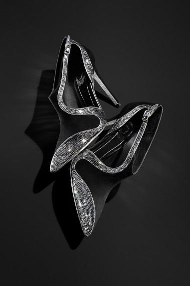 René Caovilla , black suede and strass asymmetrical cutout bootie, $1,295