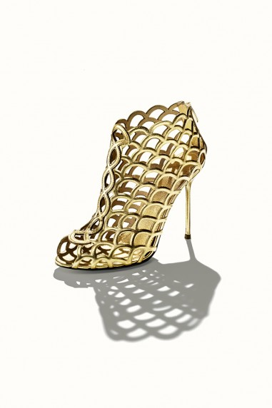 "Sergio Rossi gold metallic leather ""Mermaid"" bootie, $1,045"