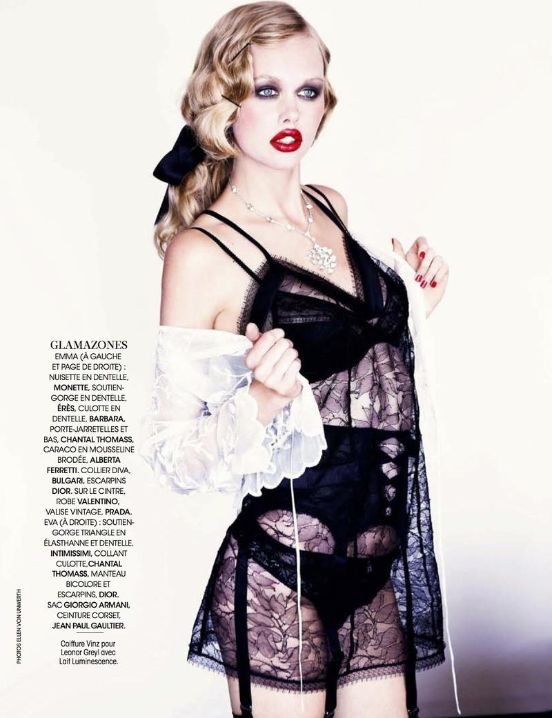 """Sexy Boudoir / Glam Cabaret"" by Ellen von Unwerth for Madame Figaro December 2013"