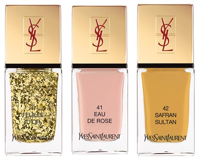 YSL La Laque Couture Spicy Collection: Feuille d'Or (Top Coat) , Eau de Rose, Safran Sultan ,