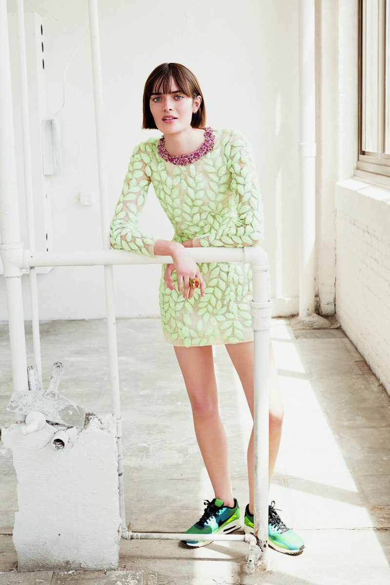 Giambattista Valli Haute Couture dress, price upon request, made to order at Bergdorf Goodman, Nike sneakers, $150, nike.com, and Dior Fine Jewelry ring
