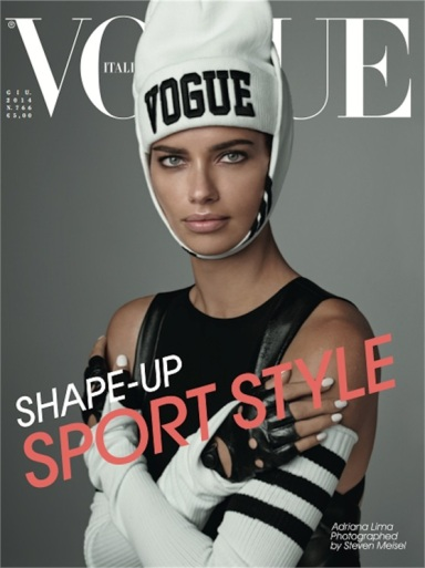 Adriana Lima graces the cover of Vogue Italia June 2014