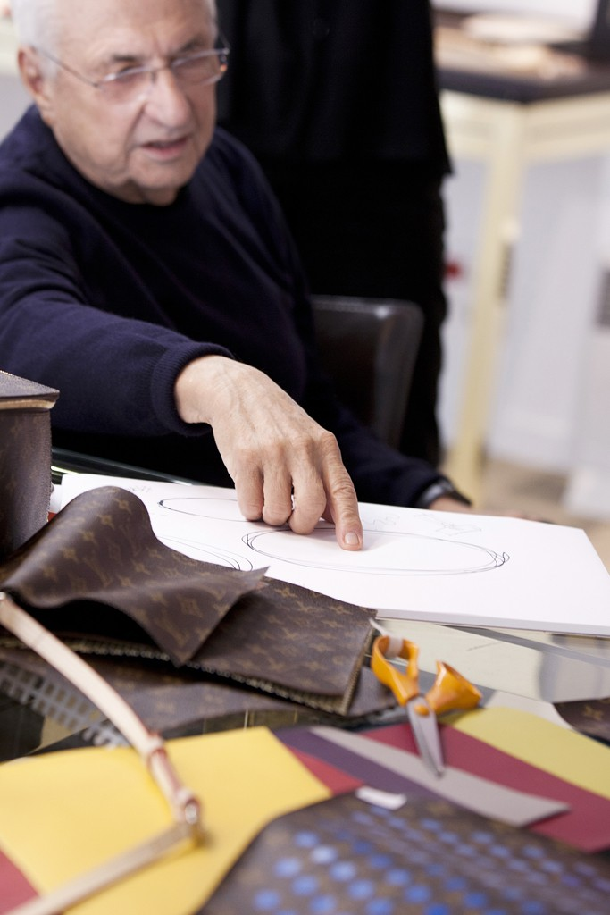 Frank Gehry at work on his Vuitton handbag