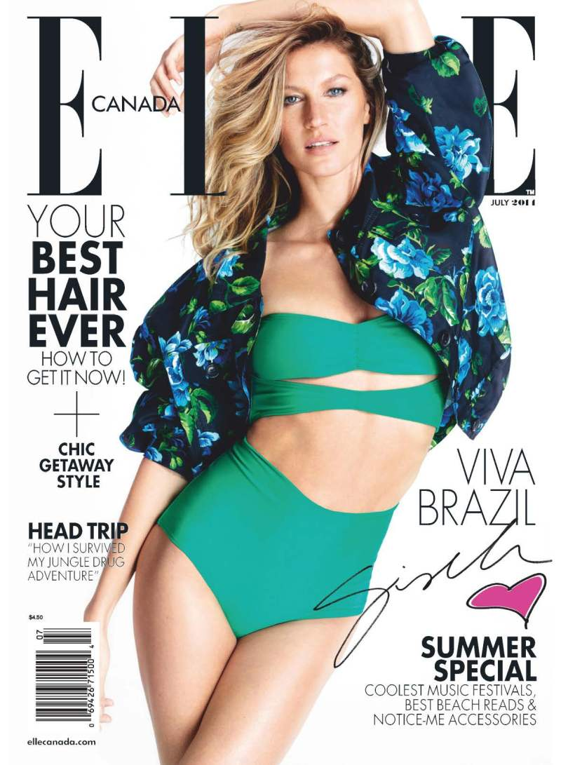 Gisele Bündchen covers ELLE Canada July 2014