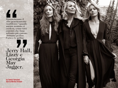 Jerry Hall, Lizzy e Georgia May Jagger for Vogue Italia June 2014