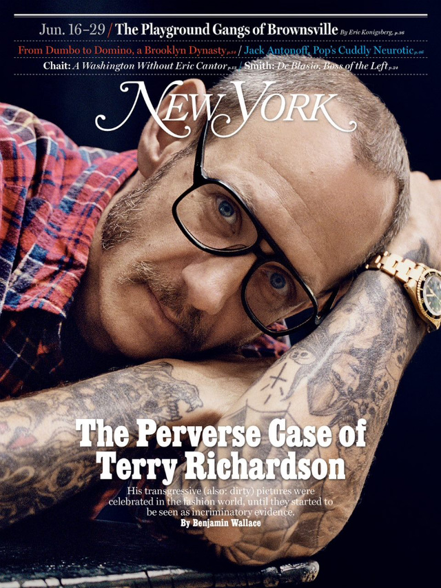 Terry Richardson covers the latest issue of New York Magazine.