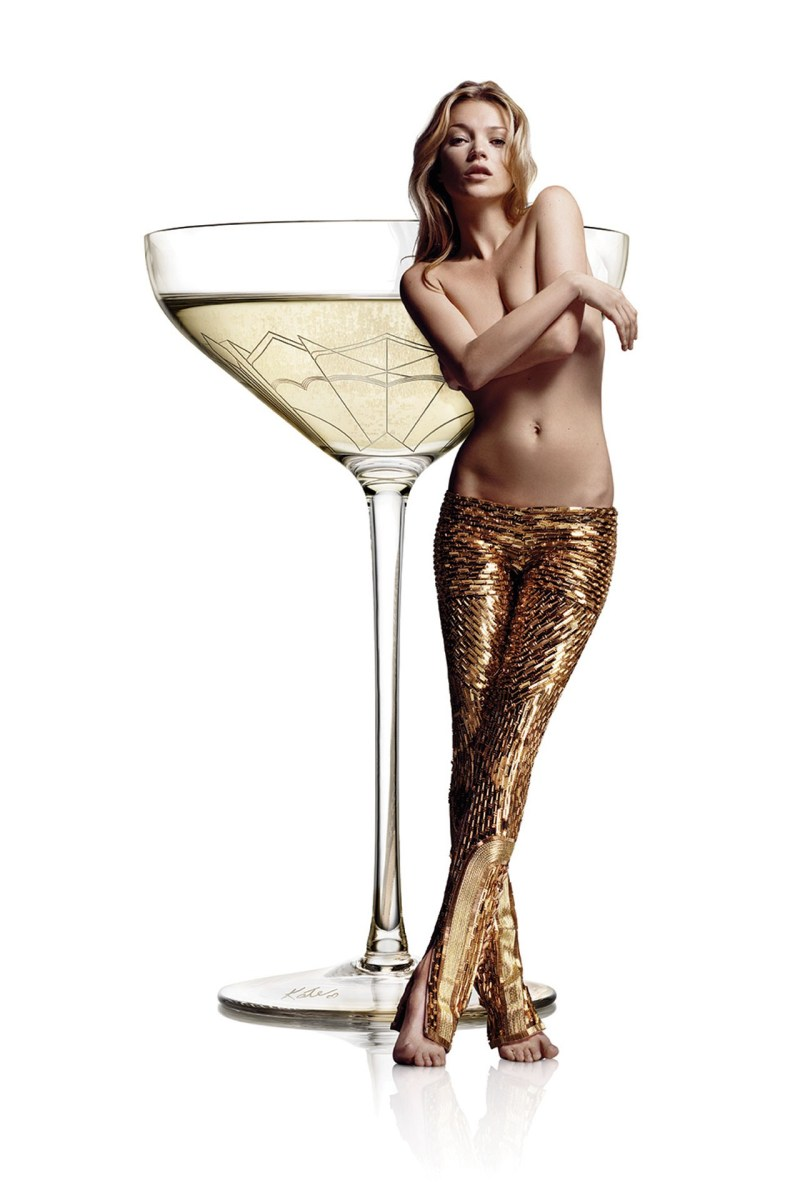 Kate Moss left breast became a champagne glass